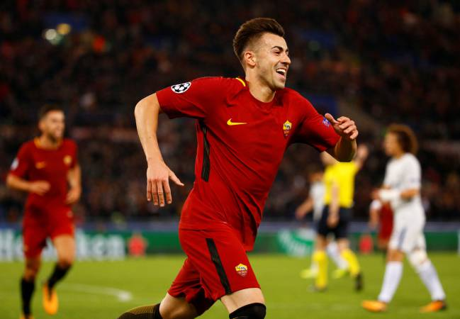 A.S. Roma vs Chelsea | Stephan El Shaarawy celebrates scoring their second goal.