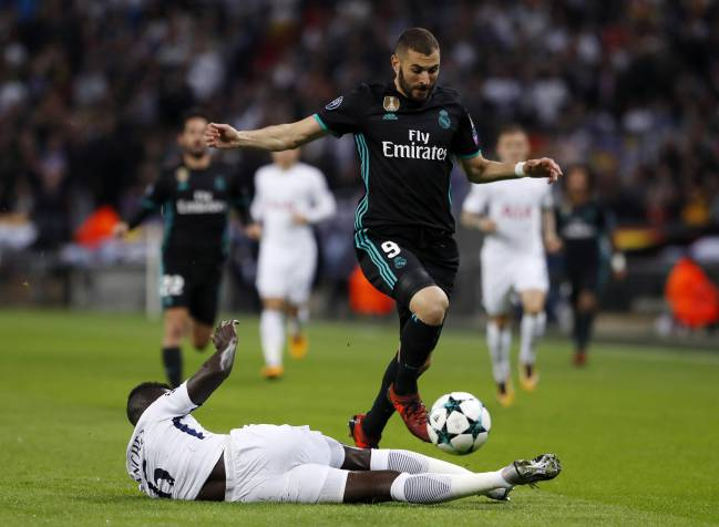 Benzema in action against Spurs at Wembley