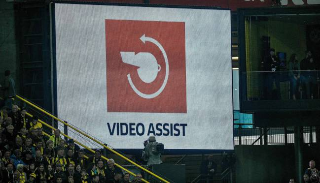 The logo of the video assistant referee (VAR) on a screen during the German first division Bundesliga football match Borussia Dortmund v FC Cologne in Dortmund.