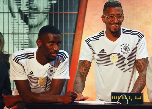 Jerome Boateng attend the presentation of the new adidas Germany kit for the 2018 FIFA World Cup Russia, here with Antonio Ruediger.