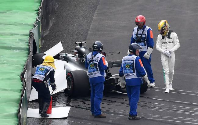 Hamilton crashes in Brazil