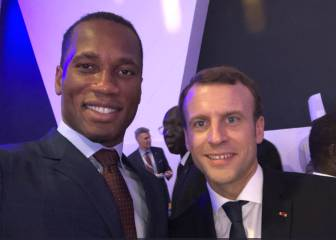 Drogba meets with French President Emmanuel Macron