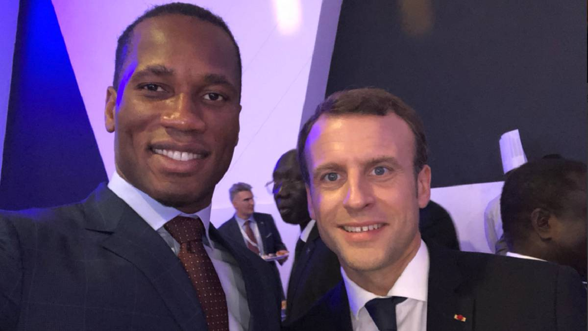 Didier Drogba meets with French President Emmanuel Macron
