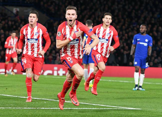 Saul Niguez celebrates after giving Atlético Madrid the lead.