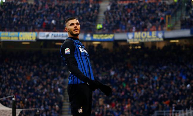 Inter Milan's Mauro Icardi celebrates scoring their second goal