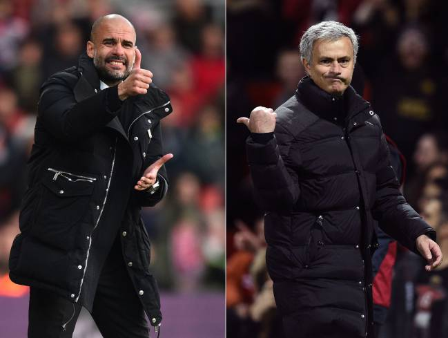 Manchester City's Spanish manager Pep Guardiola and Manchester United's Portuguese manager Jose Mourinho.