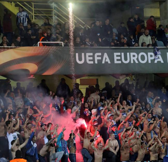 Zenit St Petersburg fans during the Europa League tie at Anoeta.