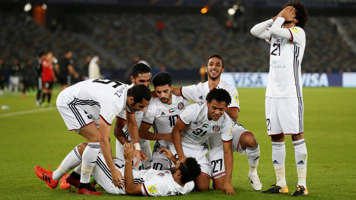 Al Jazira's Ali Mabkhout celebrates scoring their first goal against Urawa Red Diamonds which put them on their way to a semi against Madrid.
