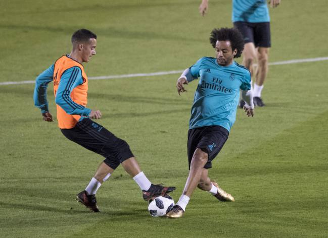 Marcelo in Madrid's training session ahead of the Club World Cup semi-final.