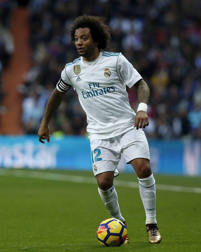 Marcelo in the famous shirt of Real Madrid in front of his adoring fans at the Estadio Santiago Bernabeu.