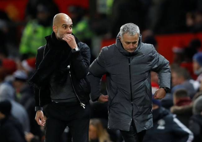 Contrasts | Manchester City manager Pep Guardiola and Manchester United manager Jose Mourinho at the end of the match.