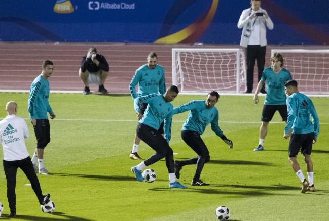 Real Madrid in training in Abu Dhabi today