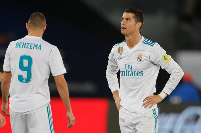 Real Madrid's Karim Benzema and Cristiano Ronaldo disappointed after well-worked goal disallowed.