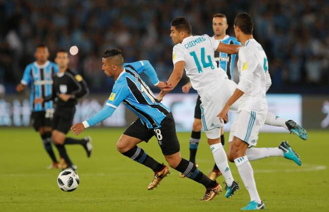 Gremio's Lucas Barrios in yesterday's FIFA Club World Cup Final against Real Madrid.