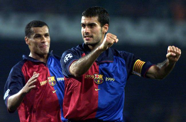 Rivaldo and Guardiola during their playing days at Barcelona.