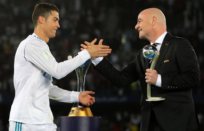 FIFA president Gianni Infantino after Real Madrid won the FIFA Club World Cup final.
