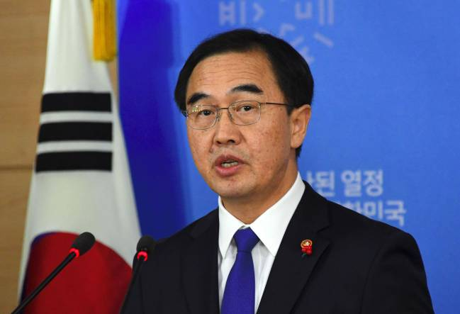 South Korea's Unification Minister Cho Myoung-Gyon speaks during a press conference at a government complex in Seoul on January 2, 2018.