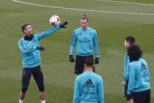 Training fun | Real Madrid stars Gareth Bale, Cristiano Ronaldo, Marcelo and others at the Ciudad Deportiva de Valdebebas.