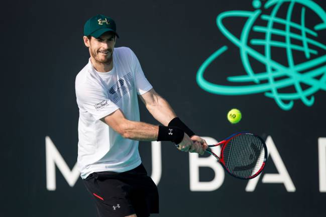 December 28, 2017 | Andy Murray of Great Britain taking part in a tennis practice session in Abu Dhabi.