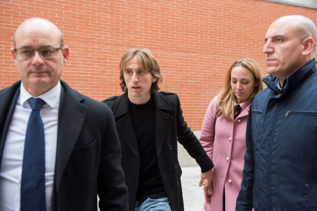 Real Madrid's Luka Modric leaving court in Alcobendas, near Madrid.