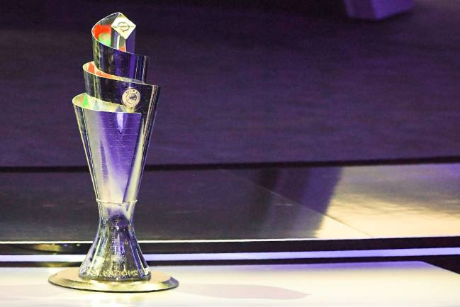 The UEFA Nations League trophy on display in Lausanne.