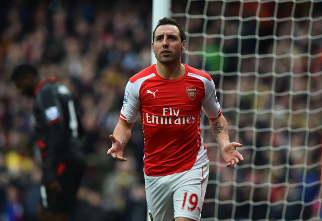 Arsenal's Spanish midfielder Santi Cazorla gestures after a missed chance during the English Premier League football match between Arsenal and Liverpool.