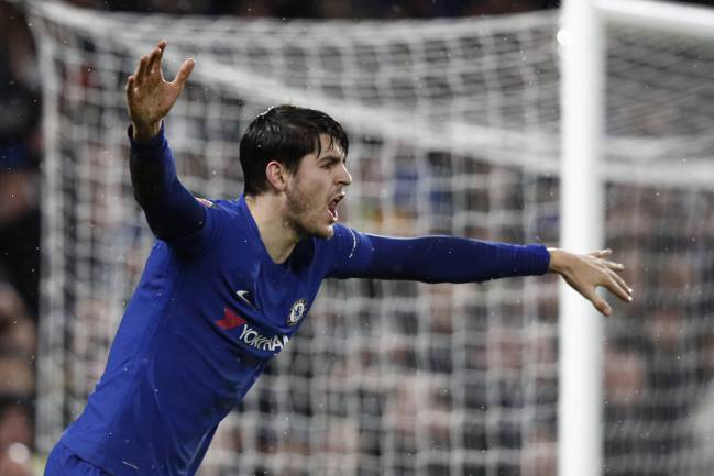 Chelsea's Spanish striker Alvaro Morata reacts to a perceived foul during the FA Cup third round replay football match between Chelsea and Norwich City.
