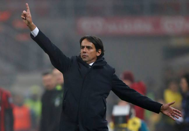Lazio coach Simone Inzaghi at the San Siro.
