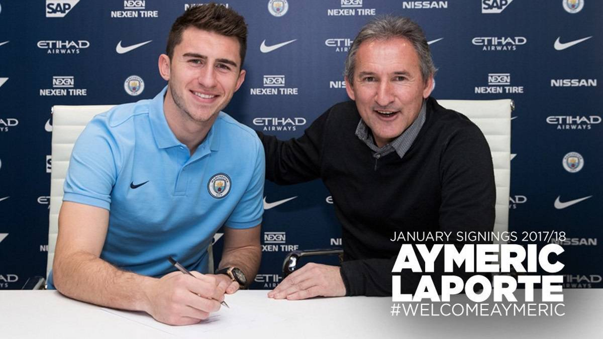 Manchester City complete club-record Aymeric Laporte signing