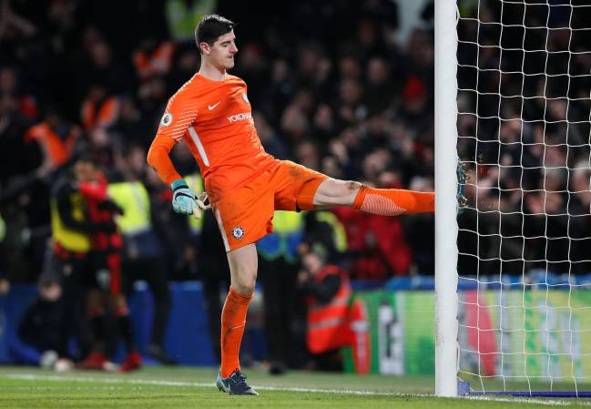 Chelsea's Thibaut Courtois frustrated against Bournemouth in 3-0 loss at Stamford Bridge.