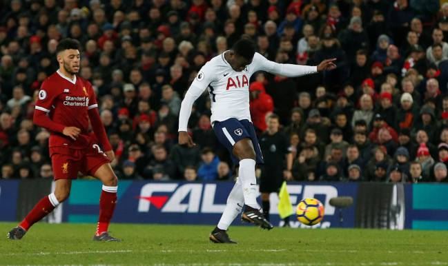 Victor Wanyama lets fly | Liverpool vs Tottenham Hotspur - Anfield.