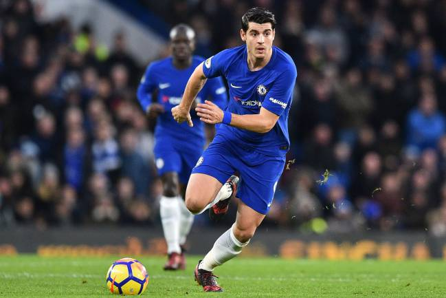 Alvaro Morata runs with the ball during the English Premier League football match between Chelsea and Brighton and Hove Albion