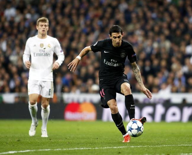 Di Maria playing for PSG against Real Madrid in the Champions League in 2015.