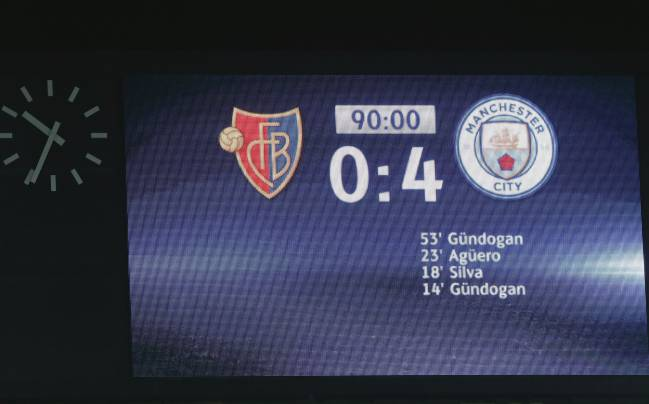 The final result is seen on the big screen after the UEFA Champions League Round of 16 First Leg match between FC Basel and Manchester City at St. Jakob-Park on February 13, 2018 in Basel, Switzerland.