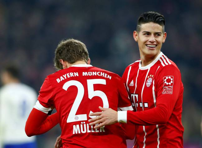 Happy James | Bayern Munich's Thomas Muller celebrates with James Rodriguez.