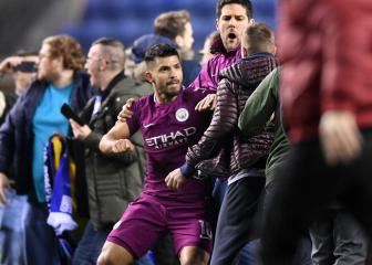 Aguero lashes out at fan as tempers flare after Wigan stun Man City