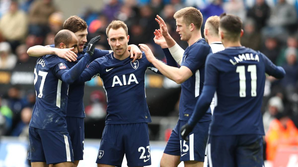 Eriksen scores twice as Spurs cruise into semi-finals