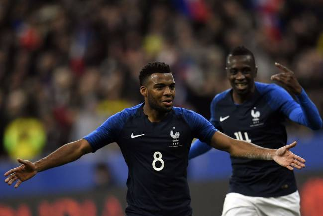 France's midfielder Thomas Lemar celebrates after scoring in the friendly against Colombia at the Stade de France.