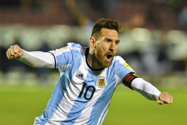 It's time | Argentina's Lionel Messi celebrates after scoring against Ecuador during their 2018 World Cup qualifier.