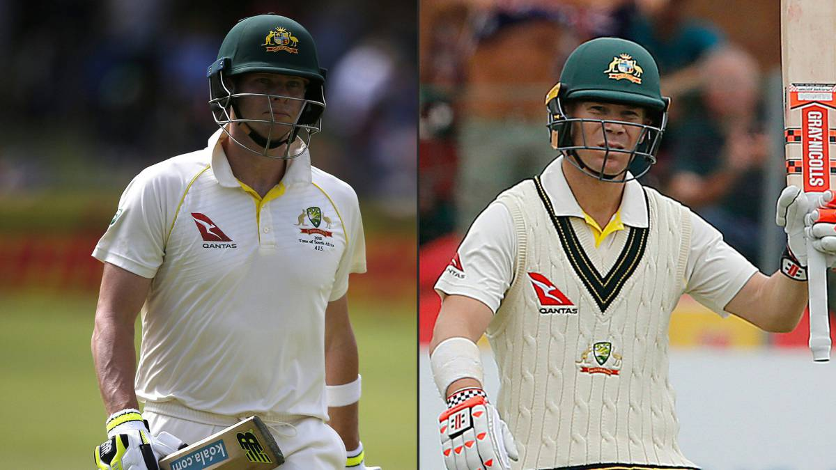 Australia batsman and captain Steve Smith (L) batsman David Warner .
