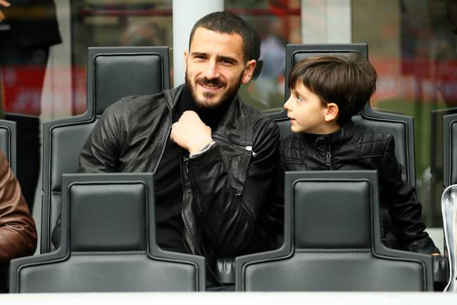 AC Milan's Leonardo Bonucci watches the Milan derby from the stands.