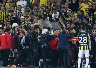 Fenerbahce-Besiktas abandoned after Gunes struck by object thrown from crowd