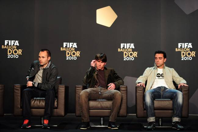 Nominee for the FIFA Ballon d'Or, Spain's Andres Iniesta, Argentina's Lionel Messi and Spain's Xavi Hernandez.