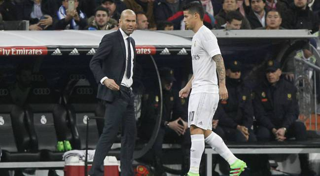 Bench time | A familiar scene for James under Zidane.