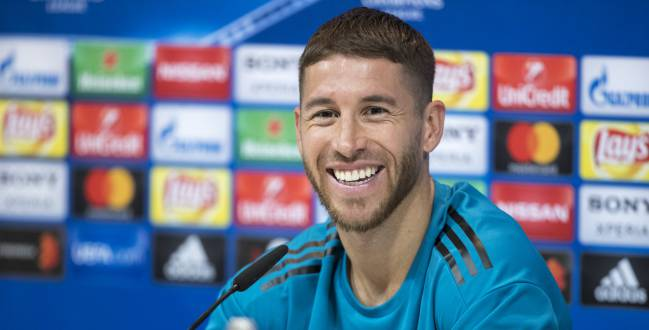 Sergio Ramos looking relaxed in the pre-match press conference.