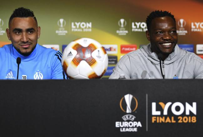 Marseille's Dimitri Payet and Steve Mandanda speaking to media during a press conference on the eve of the UEFA Europa League Final.