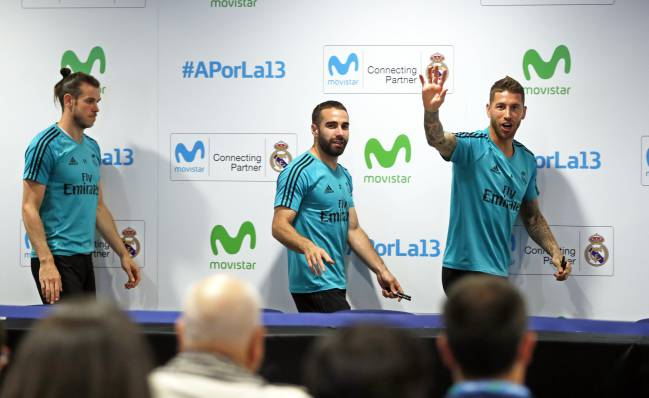 Real Madrid players during today's Movistar event in Madrid.