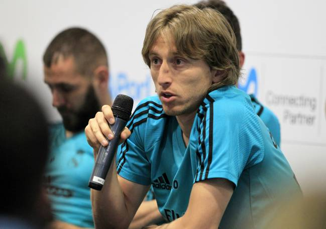 Luka Modric during today's Movistar event in Madrid.