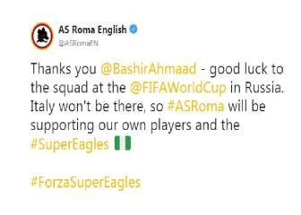 Russia 2018: AS Roma declares support for Nigeria