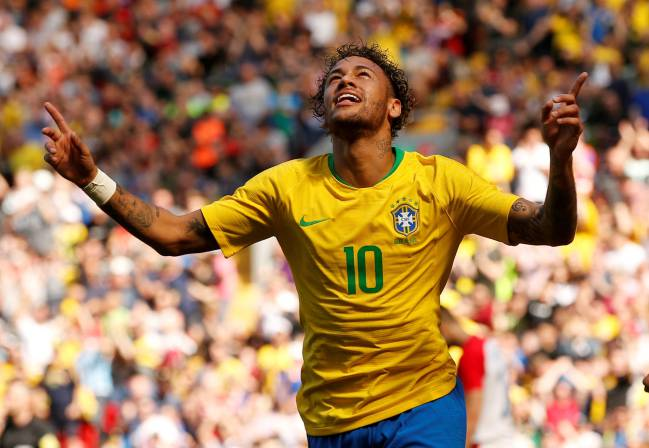 Brazil vs Croatia - Anfield, Liverpool: Brazil's Neymar celebrates scoring their first goal after his long-awaited return from injury.